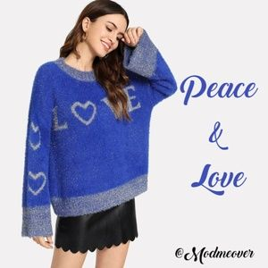 Oversized Love Blue & Metallic Silver Sweater NEW